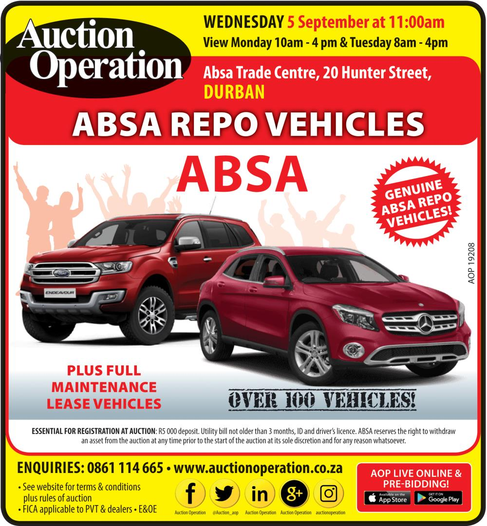 Auction Operation - ABSA REPO VEHICLES - DURBAN